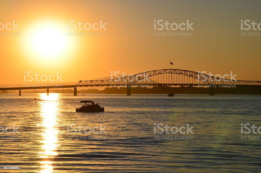 Relaxing sunset with the blue bridge over columbia river stock photo