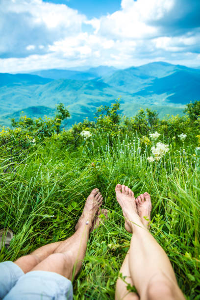 Relaxing time during  in mountains stock photo