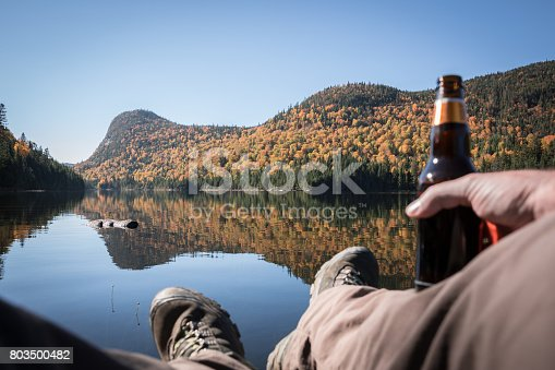 istock POV Relaxing Time During Outdoor Trekking in Mountains, Lake, Autumn 803500482