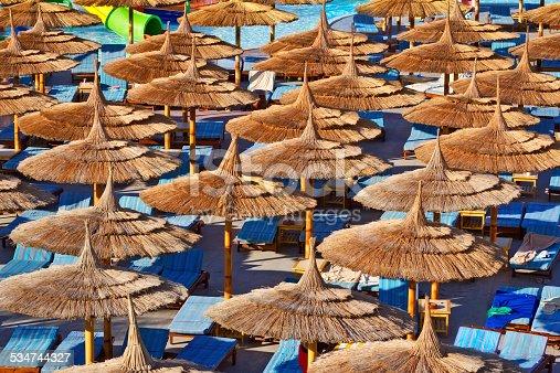 Relaxing under Parasols in Tropical Resort