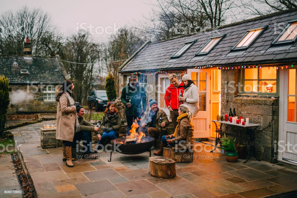 Relaxing Winter Evening stock photo