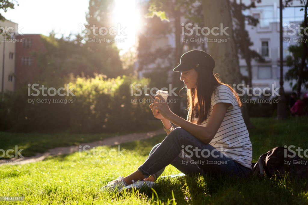 Relaxing with coffee royalty-free stock photo
