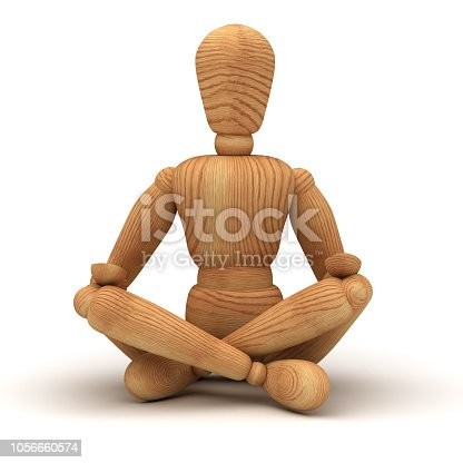 Relaxing with meditation on white background