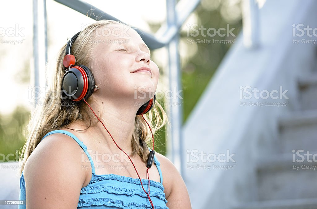Relaxing with music. royalty-free stock photo