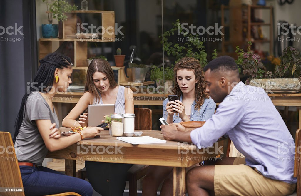 Relaxing with the best of friends stock photo