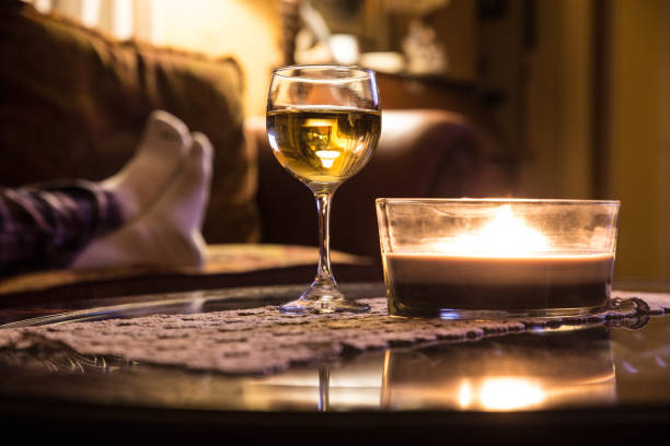 Relaxing with wine and candle stock photo