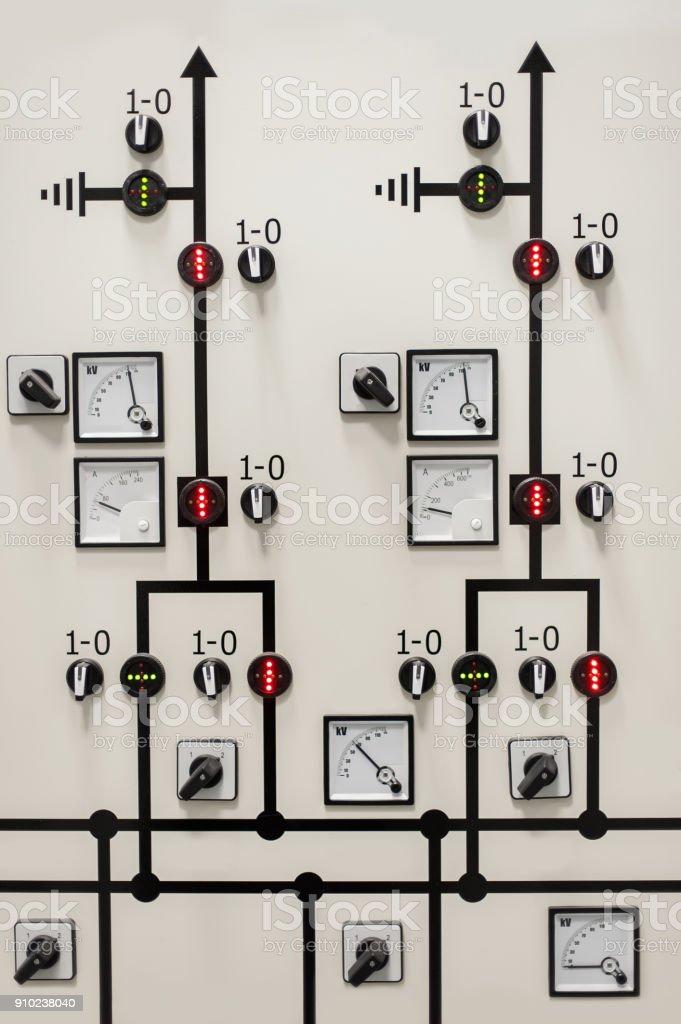 Relay protection system. Bay control unit. Medium voltage switchgear stock photo