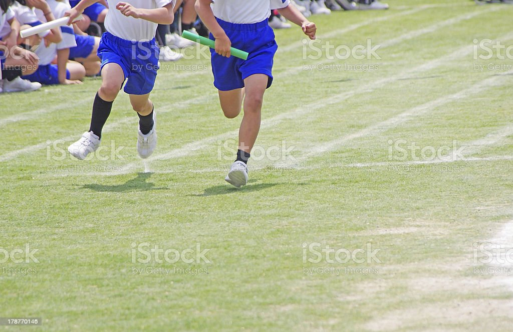 relay race on a field day in Japan stock photo