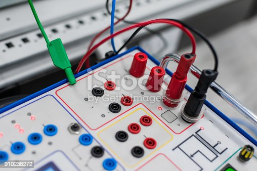 istock Relay test set equipment. Relay and protection testing 910238272