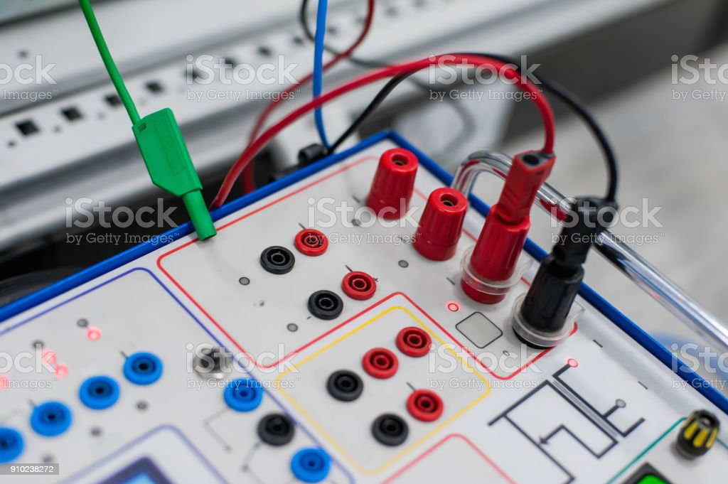Relay test set equipment. Relay and protection testing stock photo