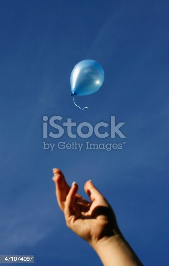 A female hand releasing a blue balloon into the blue sky