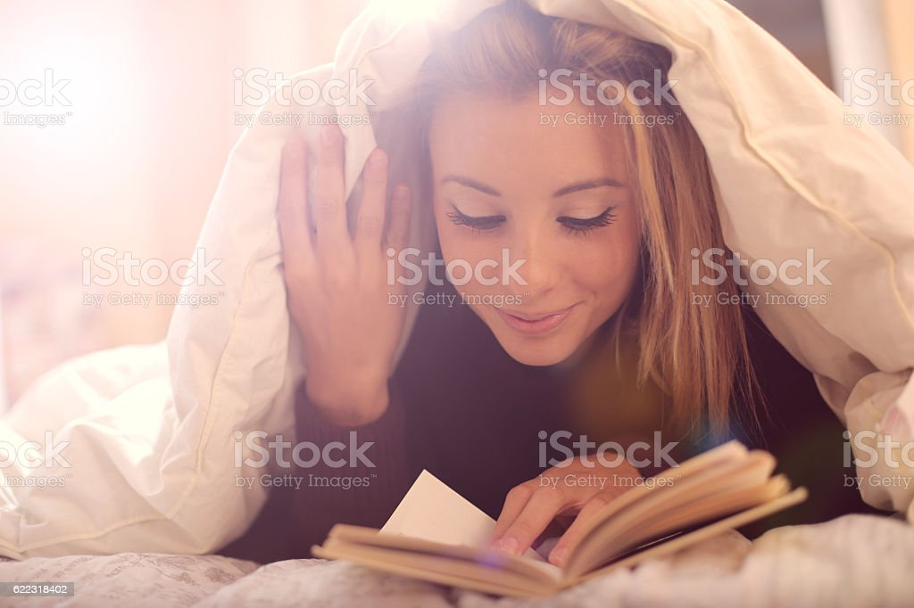 Releaxing bedtime stock photo