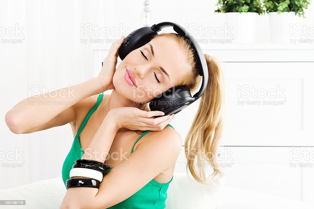 Relexation with music royalty-free stock photo