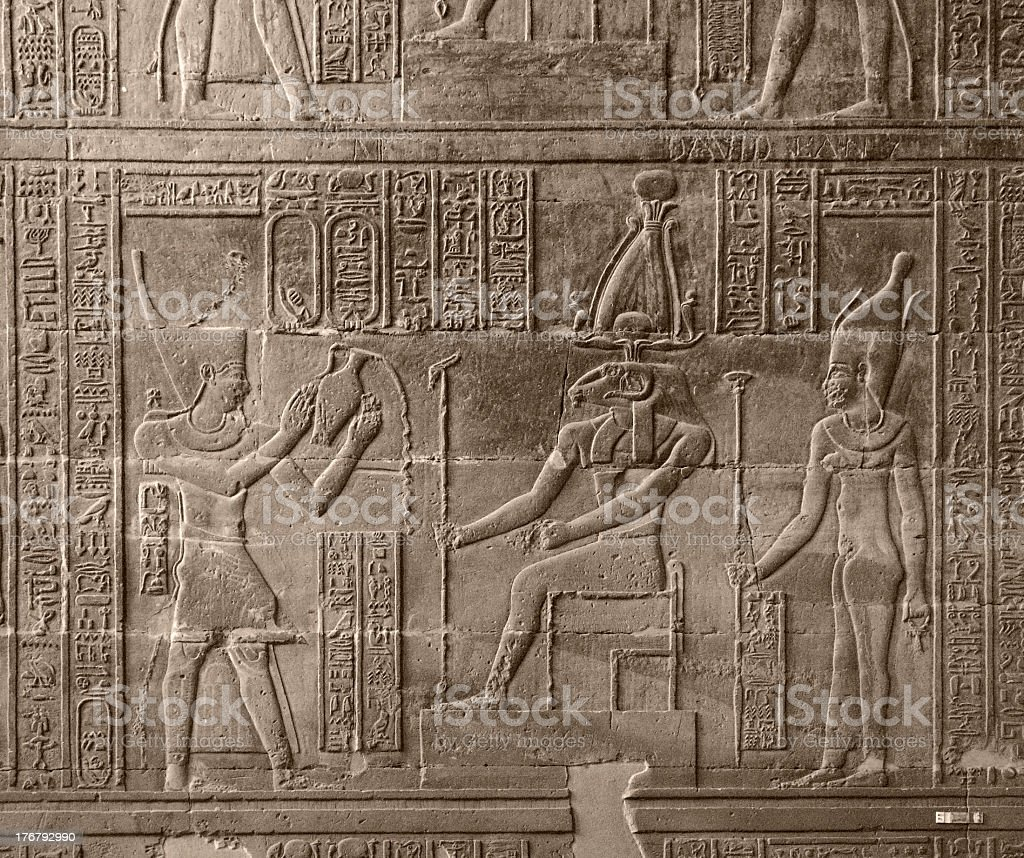 relief at Chnum Temple in Egypt royalty-free stock photo