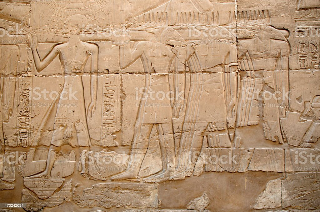 Relief in the Precinct of Amun-Re  (Karnak, Luxor, Egypt) stock photo