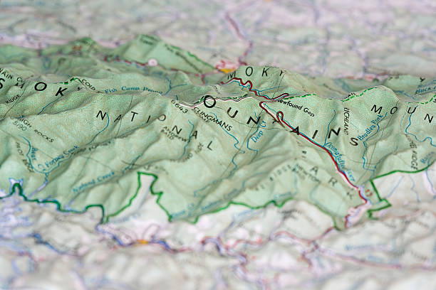 relief map of the great smoky mountains - tennessee map stock photos and pictures