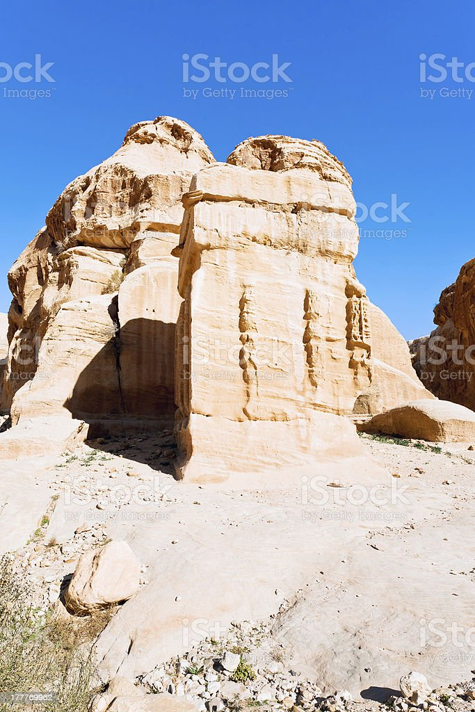 relief of obelisk and Jinn Block in Bab as-Siq, Petra stock photo