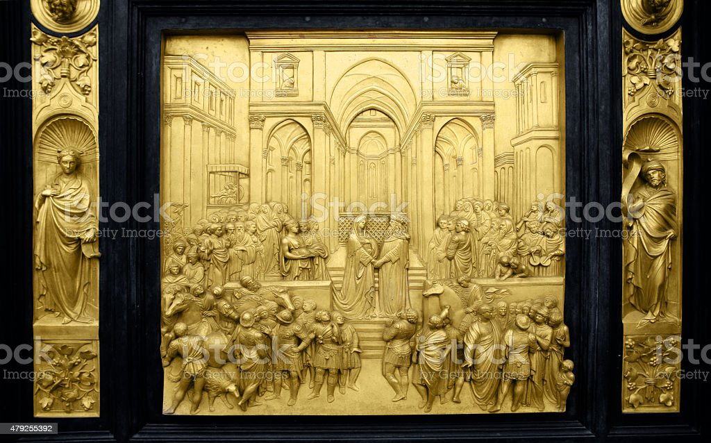 Relief: Queen of Sheba and King Solomon stock photo