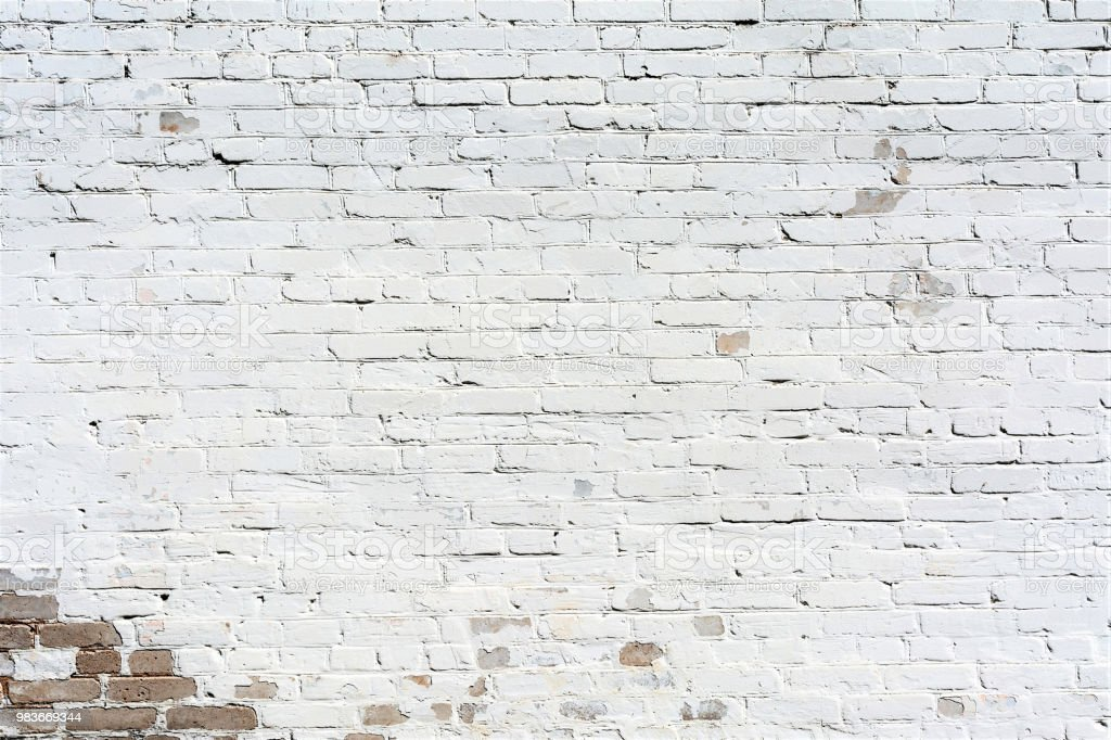 Relief Texture Old Brick Wall Painted With White Paint Damages On The Wall From The Flow Of Water Abstract Background Stock Photo Download Image Now