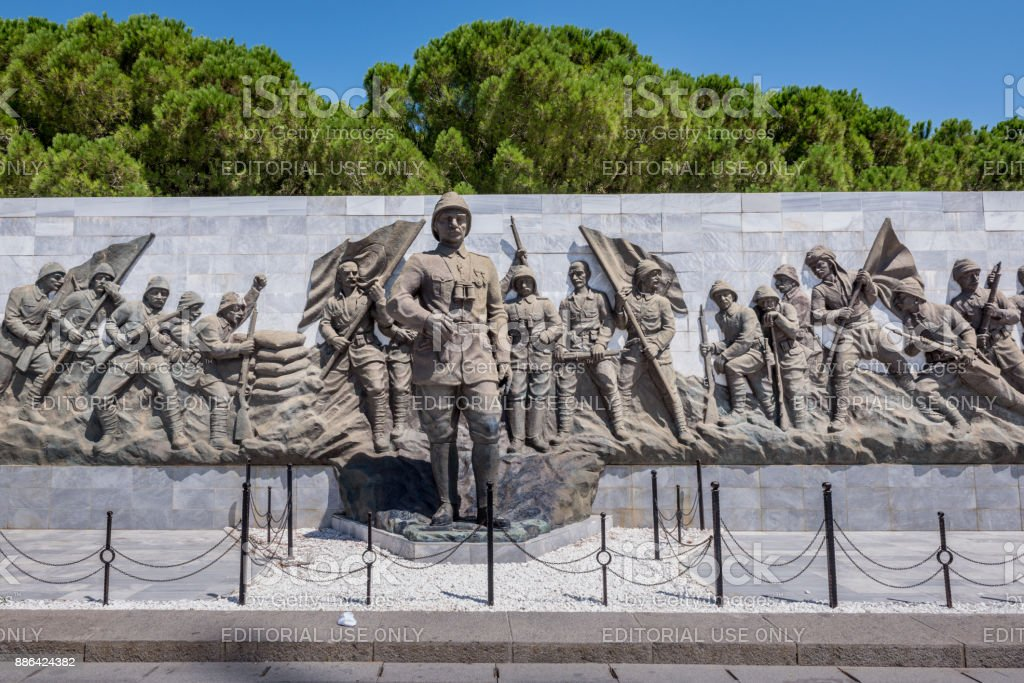 Relief works in Canakkale martyr memorial military cemetery stock photo