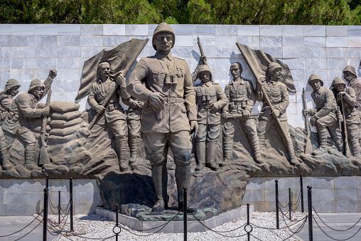 Relief works in Canakkale martyr memorial military cemetery