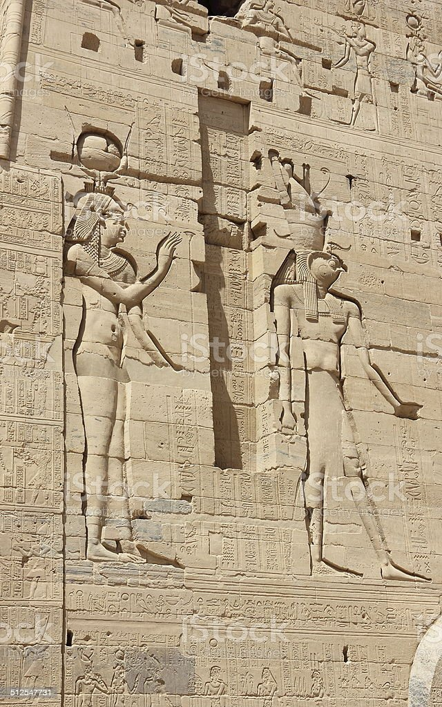 Reliefs on the walls of the Temple of Philae. Egypt. stock photo
