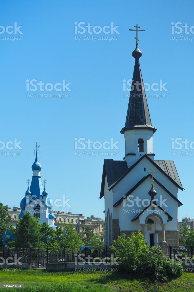 Religion background. View of the exterior of the old temple against the blue sky. - Royalty-free Ancient Stock Photo
