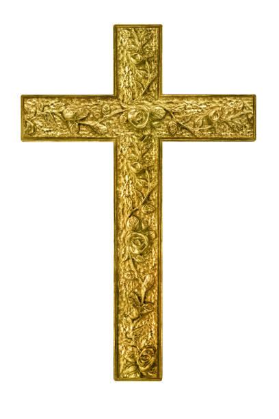 Religion goldenes Kreuz vor weißem Hintergrund – Foto