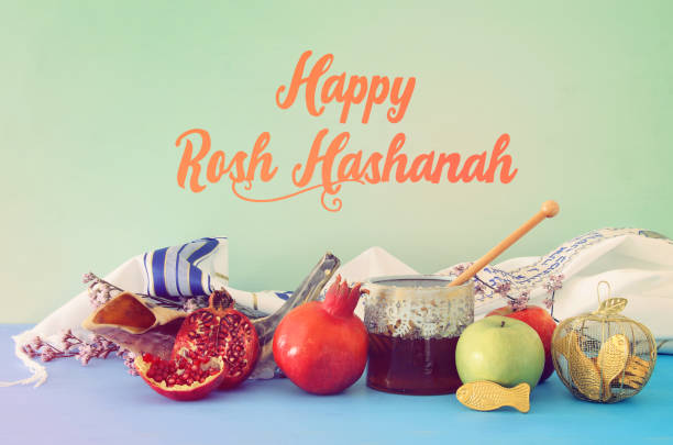 religion image of Rosh hashanah (jewish New Year holiday) concept. Traditional symbols – zdjęcie