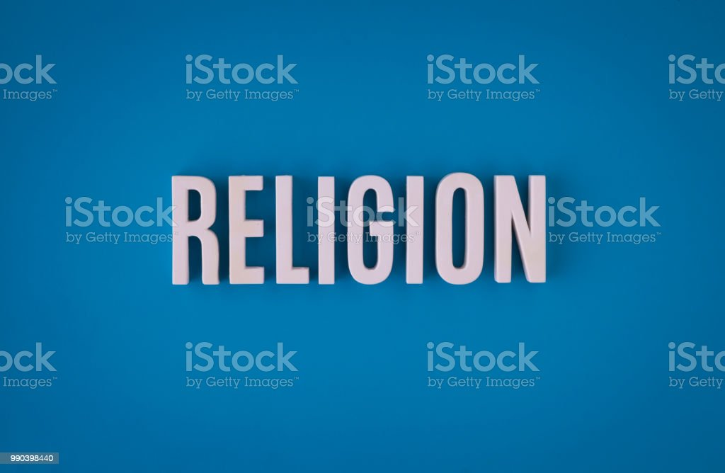 Religion lettering sign made with colorful background and white...