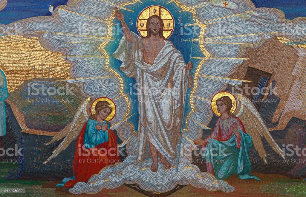 Religion. Mosaic of Saints. Orthodox church in Kirowograd Ukraine stock photo