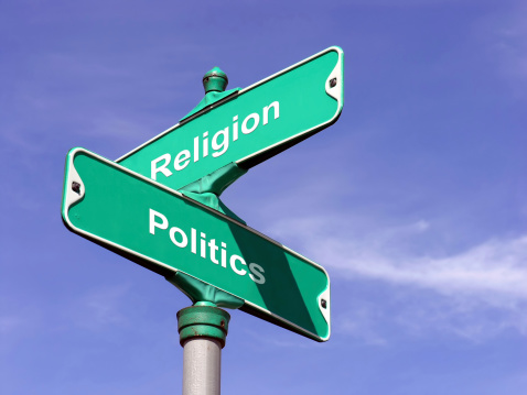 Concept of where Religion and Politics intersect.