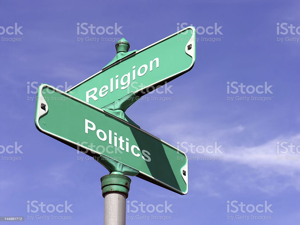 Religion VS Politics stock photo