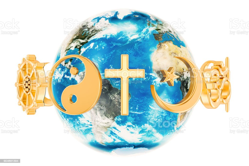 Religions symbols around the Earth Globe, 3D rendering isolated on white background stock photo