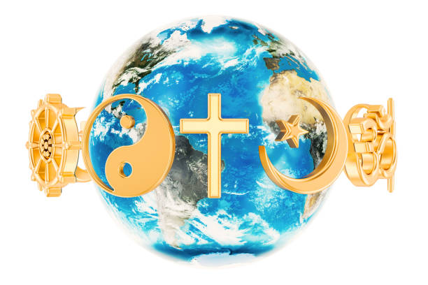religions symbols around the earth globe, 3d rendering isolated on white background - religion stock pictures, royalty-free photos & images
