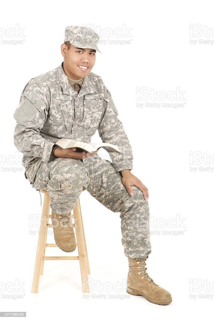 religious army man royalty-free stock photo