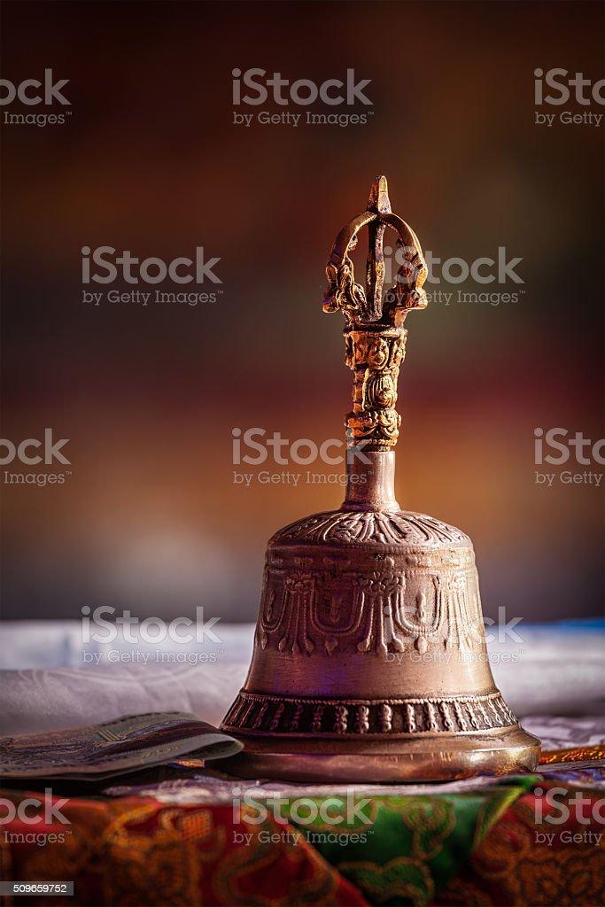 Religious bell in Buddhist monastery stock photo