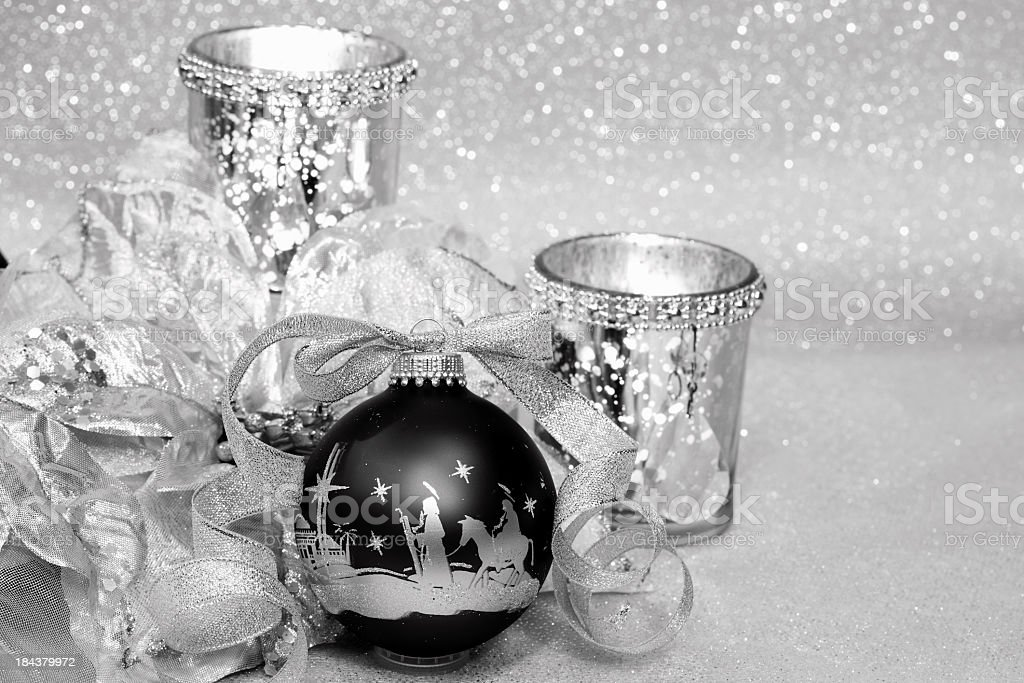Religious: Black and Silver Christmas Nativity Scene Ornament royalty-free stock photo