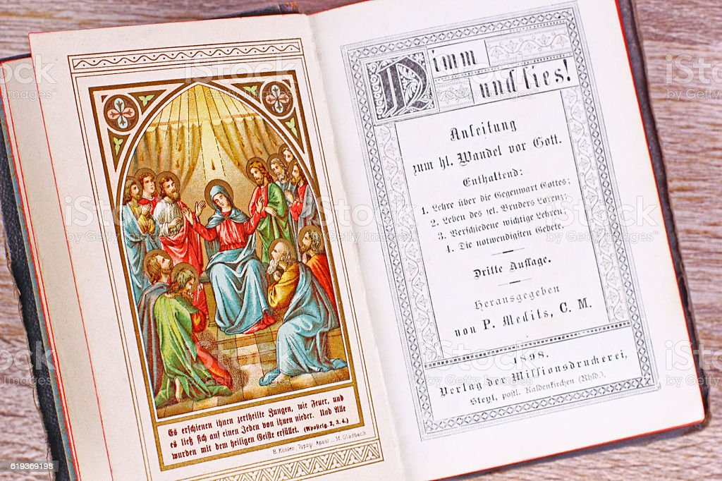 Religious Book in German from 1898, worn-out Leather Cover stock photo