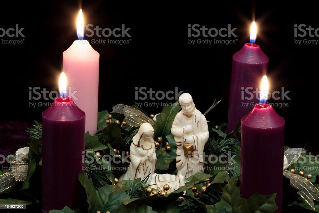 Religious: Christmas Advent Wreath with Nativity Scene 2 royalty-free stock photo