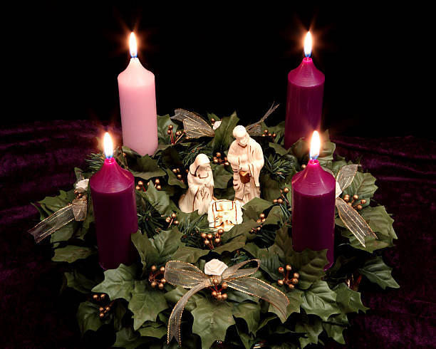 Religious: Christmas Advent Wreath with Nativity Scene stock photo