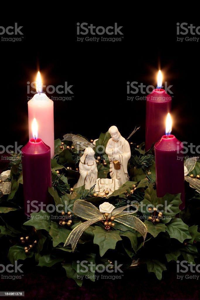 Religious: Christmas Advent Wreath with Nativity Scene royalty-free stock photo