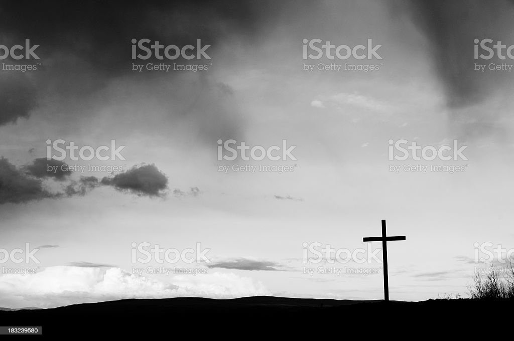 Religious cross on a hillside royalty-free stock photo