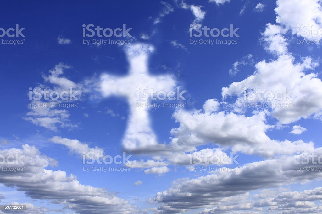 religious cross on cloudy sky royalty-free stock photo