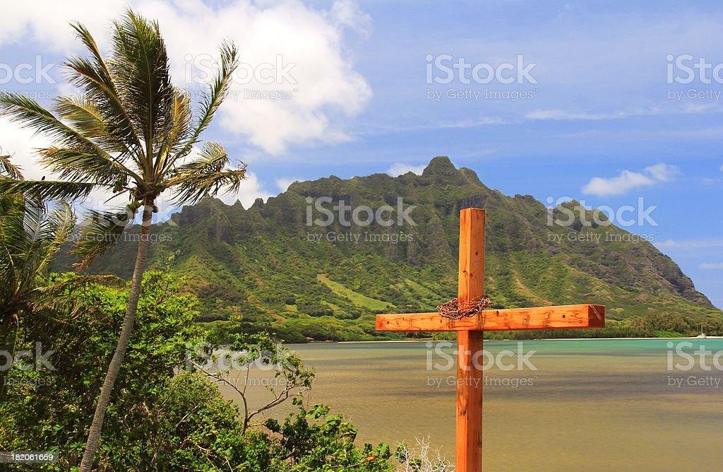 Religious cross, palm tree, Koolau range, Oahu Hawaii royalty-free stock photo