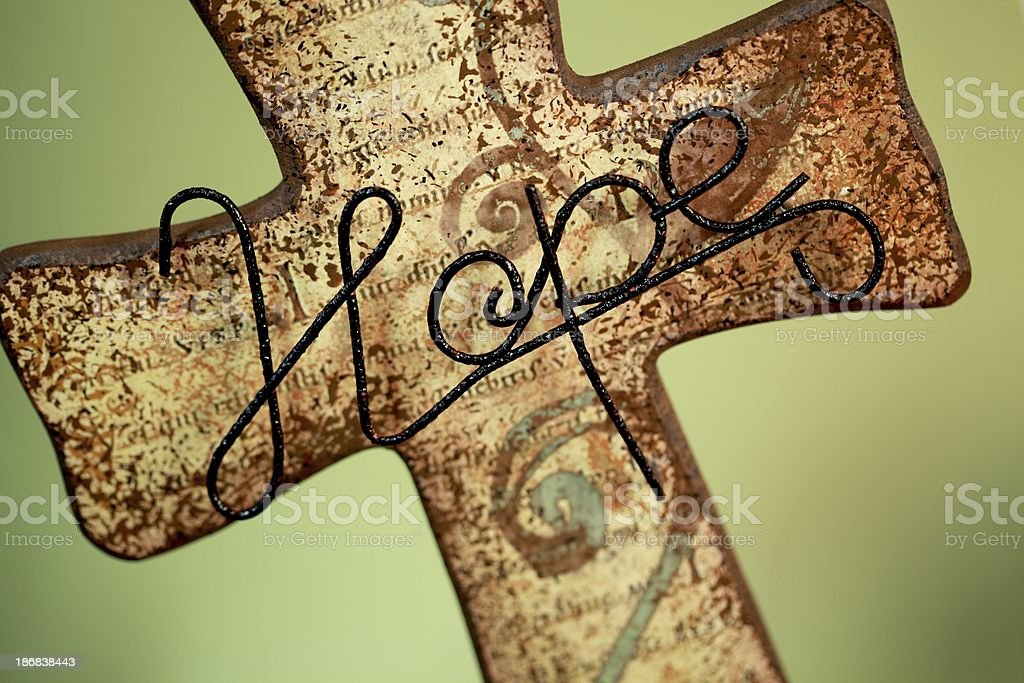 Religious: Cross with Hope written in wire royalty-free stock photo