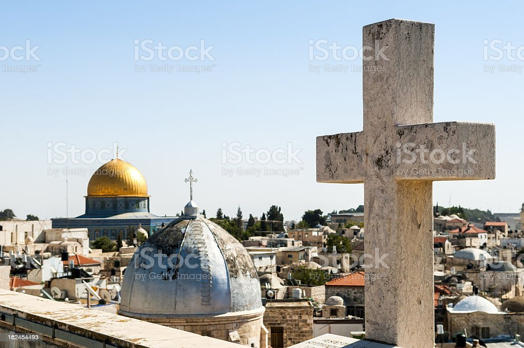 Religious diversity in Jerusalem - Christianity and Islam stock photo