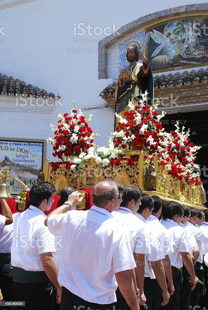 Religious float, Marbella, Spain. royalty-free stock photo