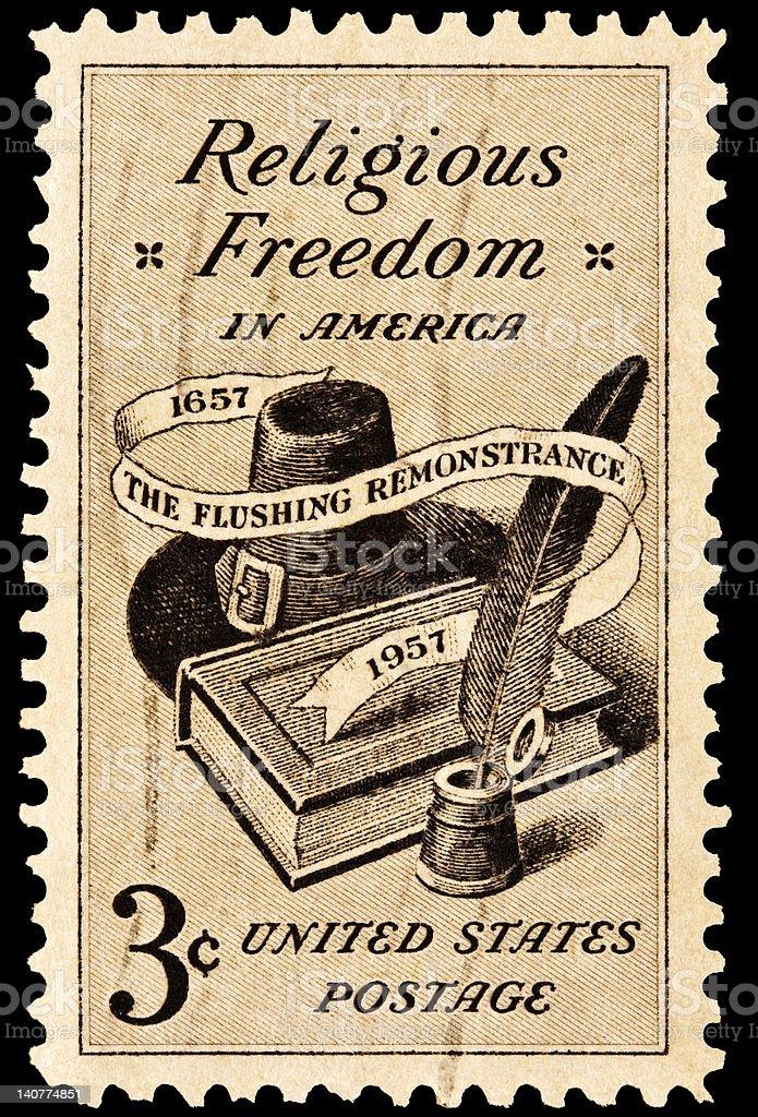 Religious Freedom Postal Issue stock photo