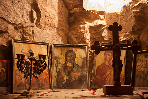 religious icons at church in Burqin, West Bank, Palestine stock photo
